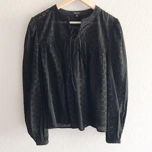 🌟NWOT🌟 Madewell Black eyelet peasant blouse